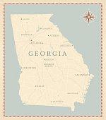 Vintage-Style Georgia Map
