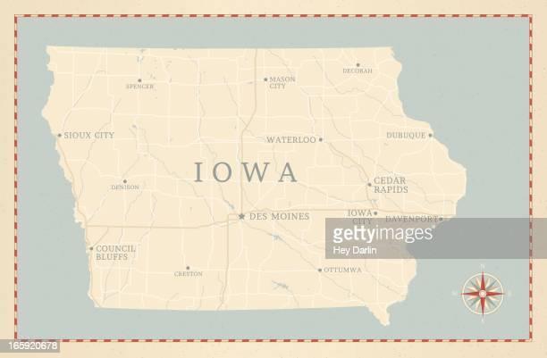 Vintage-Style Iowa Map