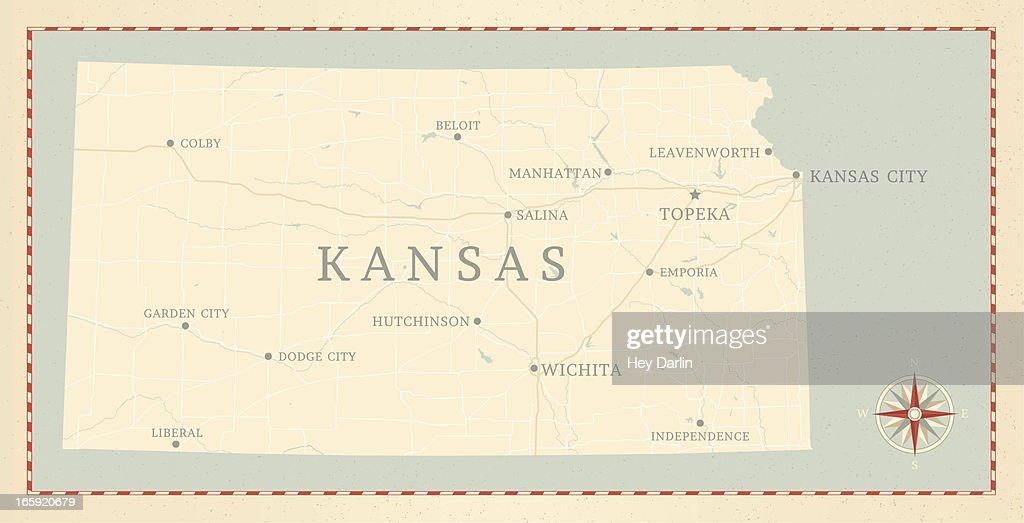 Vintage-Style Kansas Map