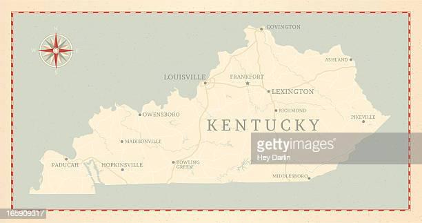 ビンテージスタイルのケンタッキーマップ - ケンタッキー州点のイラスト素材/クリップアート素材/マンガ素材/アイコン素材