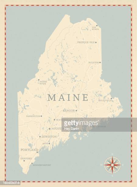vintage-style maine map - maine stock illustrations