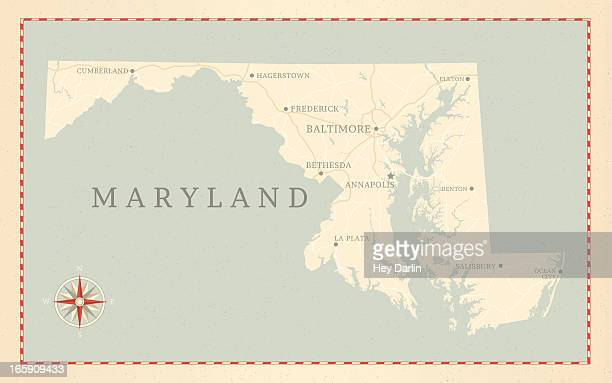 vintage-style maryland map - baltimore maryland stock illustrations, clip art, cartoons, & icons