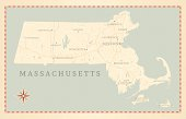 Vintage-Style Massachusetts Map