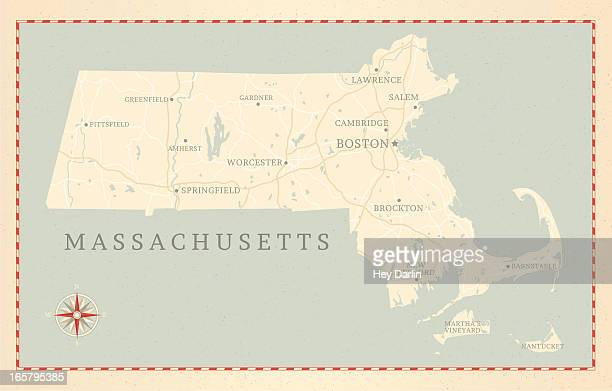 vintage-style massachusetts map - massachusetts stock illustrations