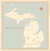 Vintage-Style Michigan Map