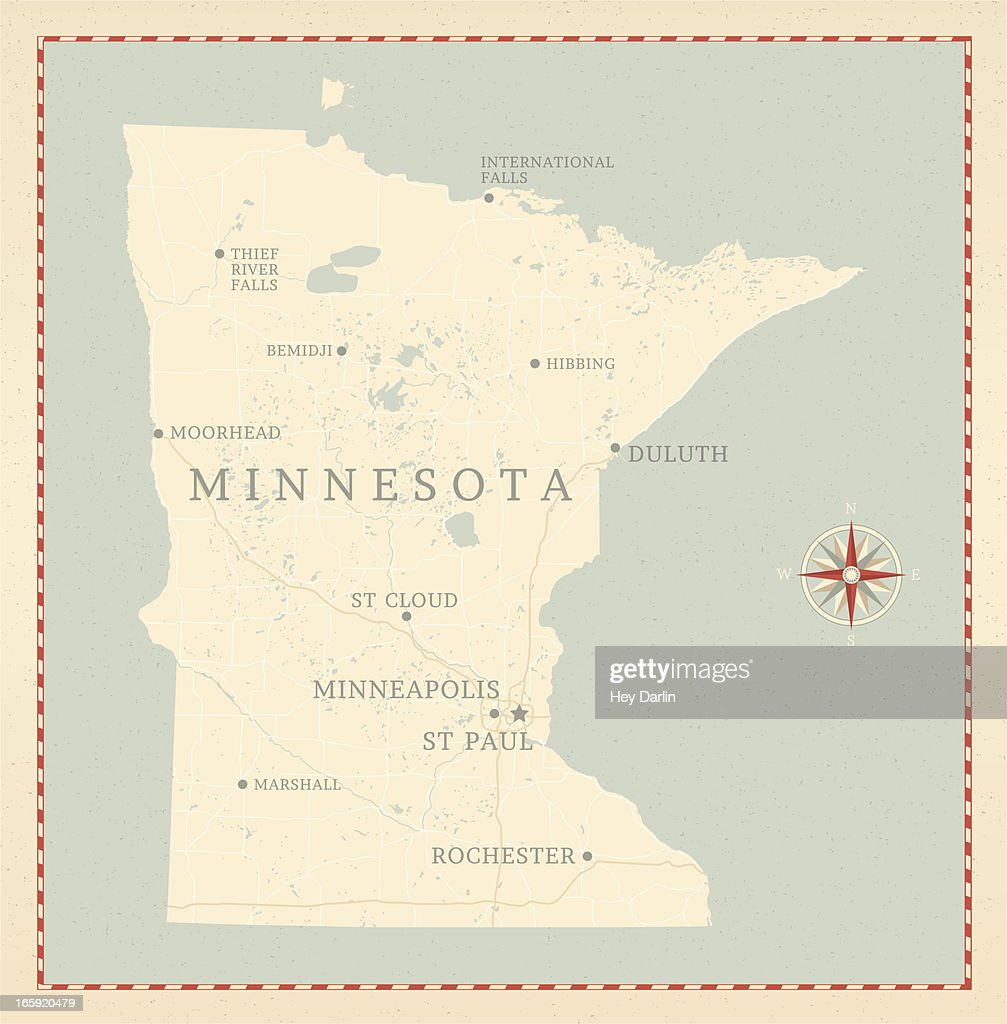 Vintagestyle Minnesota Map Vector Art Getty Images - Vintage minneapolis map