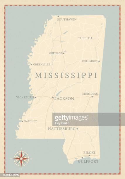 vintage-style mississippi map - mississippi stock illustrations, clip art, cartoons, & icons