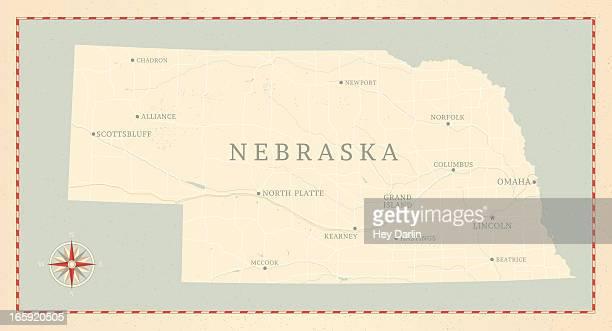 vintage-style nebraska map - nebraska stock illustrations