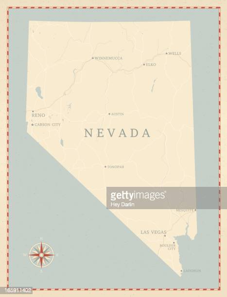 vintage-style nevada map - nevada stock illustrations