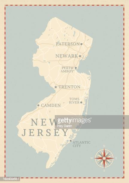 Vintage-Style New Jersey Map