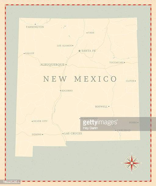vintage-style new mexico map - new mexico stock illustrations