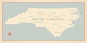 Vintage-Style North Carolina Map