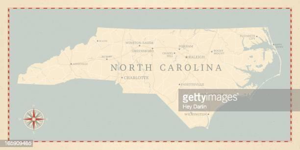 ビンテージスタイルのノースカロライナマップ - ノースカロライナ州ローリー点のイラスト素材/クリップアート素材/マンガ素材/アイコン素材