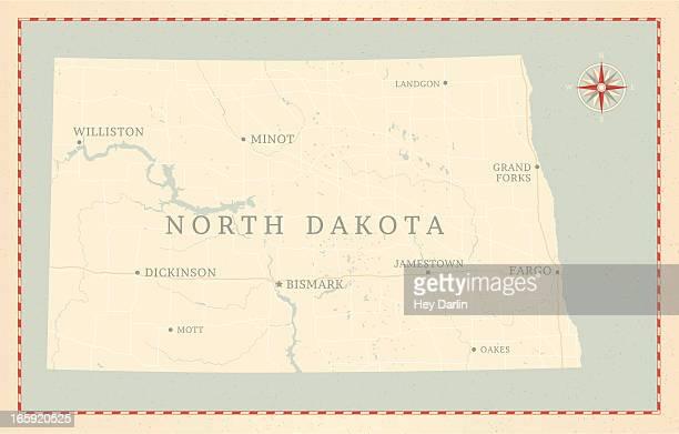 Vintage-Style North Dakota Map