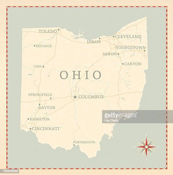 vintage-style ohio map - ohio stock illustrations