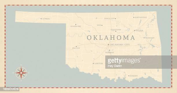 vintage-style oklahoma map - oklahoma city stock illustrations