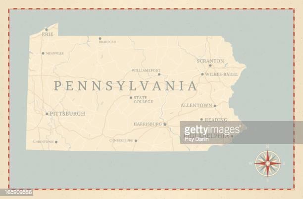 vintage-style pennsylvania map - lake erie stock illustrations, clip art, cartoons, & icons