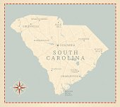Vintage-Style South Carolina Map