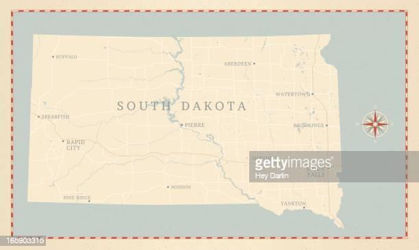 vintage-style south dakota map - south dakota stock illustrations