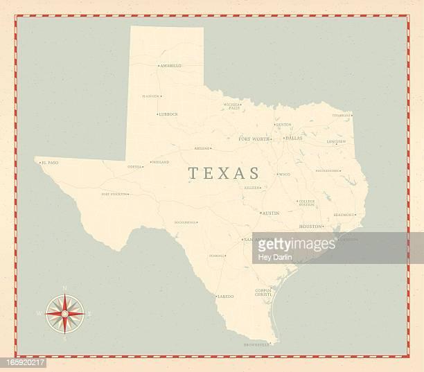 vintage-style texas map - texas stock illustrations