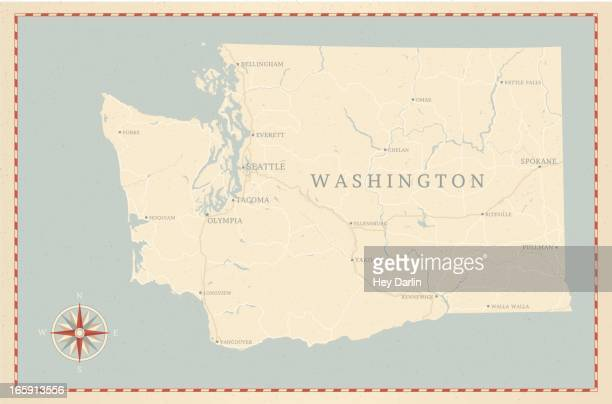 ビンテージスタイルのワシントン州マップ - スポケーン点のイラスト素材/クリップアート素材/マンガ素材/アイコン素材
