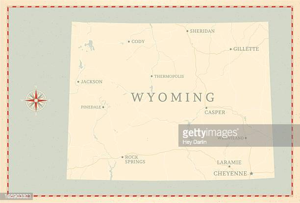 Vintage-Style Wyoming Map