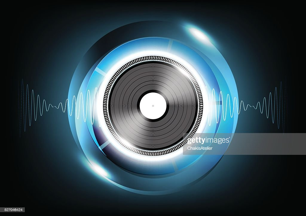 Vinyl and Sound wave Abstract Futuristic Technology Background, Vector