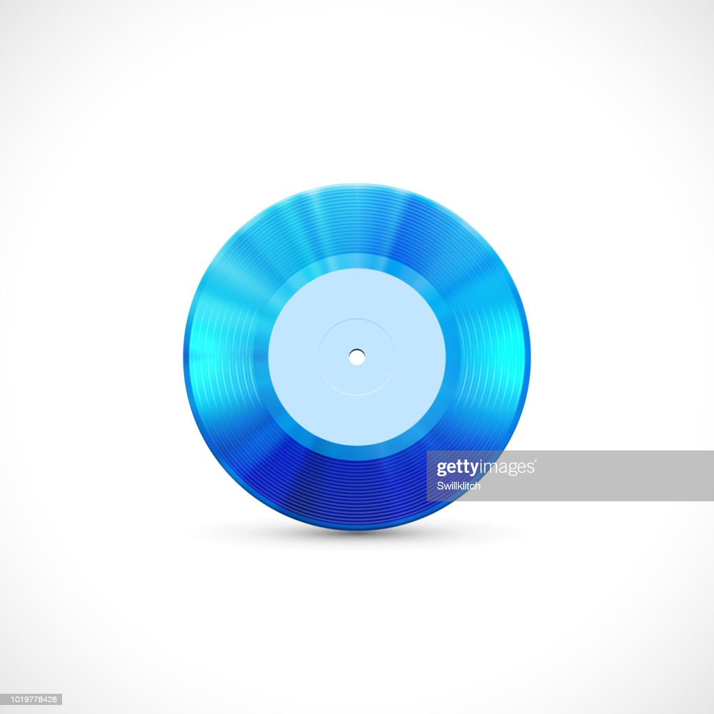 Vinyl disc 7 inch EP with blue grooves, shiny tracks