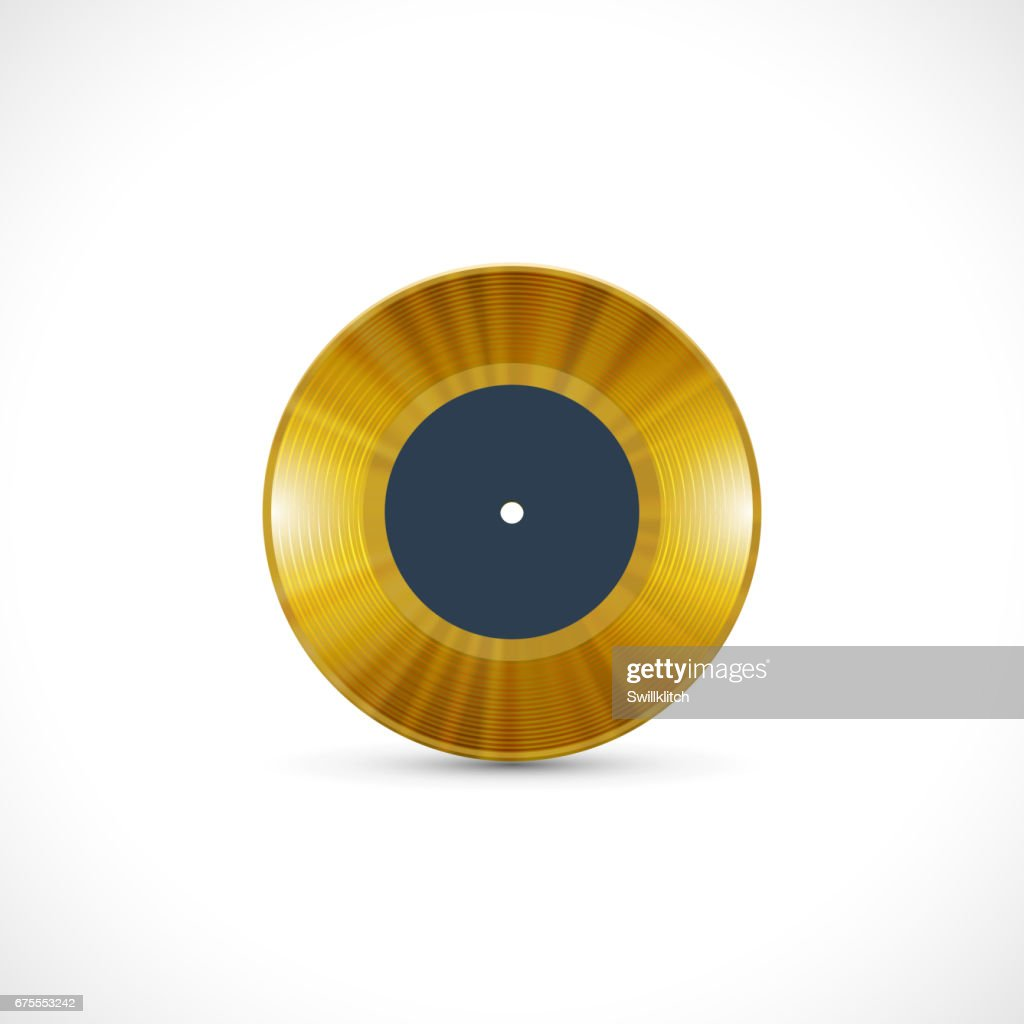 Vinyl disc 7 inch EP with golden grooves, shiny tracks