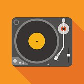 vinyl player icon with long shadow. flat style illustration