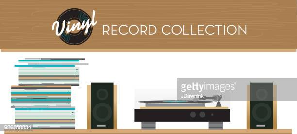 Vinyl Record collection on shelves