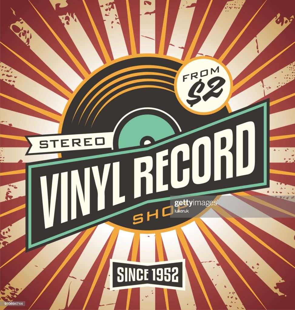 Vinyl record shop retro sign design
