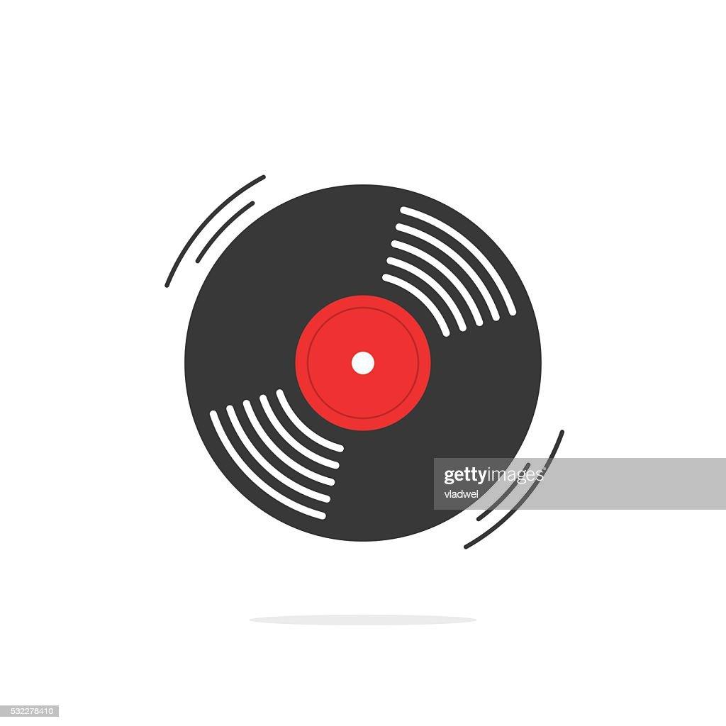 Vinyl record vector icon, gramophone disk
