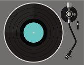 Vinyl turntable, flat design