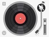 Vinyl turntable. Flat vector illustration