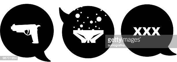 violence, death & sex [ speech bubbles ] - x rated stock illustrations, clip art, cartoons, & icons