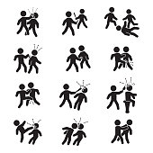 Violence icon set. Vector set of violence.