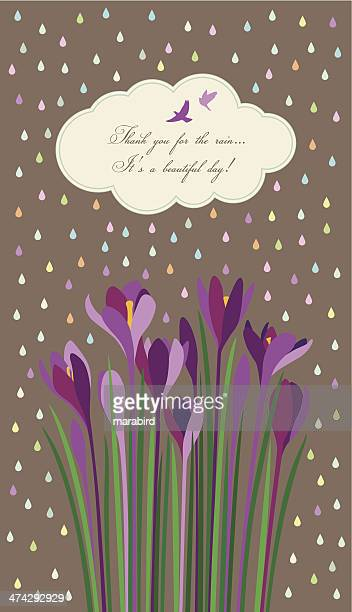 Violet Crocuses under light rain of colorful drops