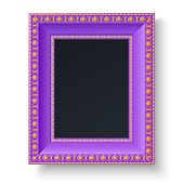 Violet frame with gold patterns for picture or text isolated on white background