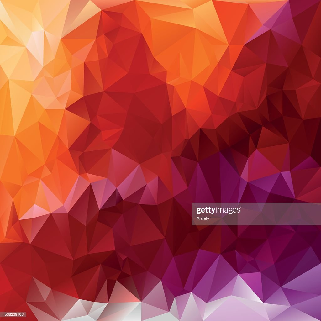 violet orange red polygonal triangular pattern background