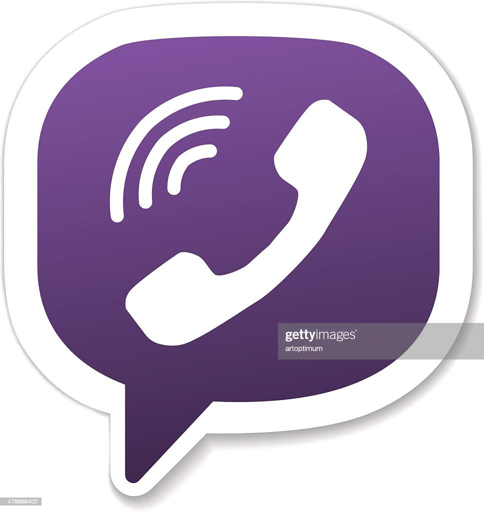 Violet phone handset in speech bubble icon