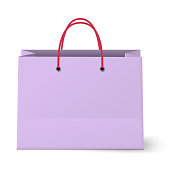 Violet shopping paper bag isolated on white background