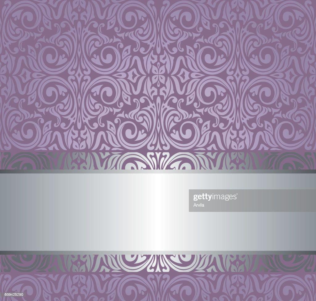 Violet vintage wallpaper invitation design with copy space