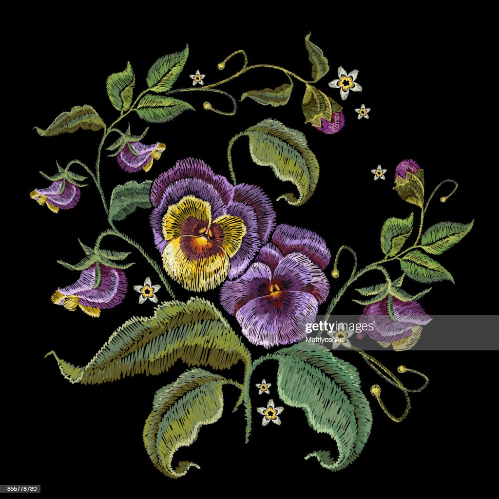 Flowers Design On Clothes | Violets Flower Embroidery Fashionable Design Of Clothes Tshirt