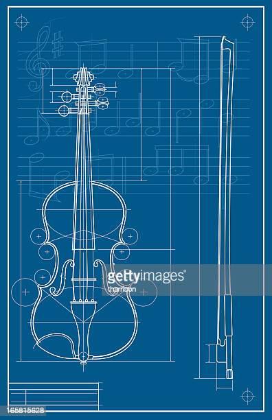 violin blueprint - violin stock illustrations, clip art, cartoons, & icons