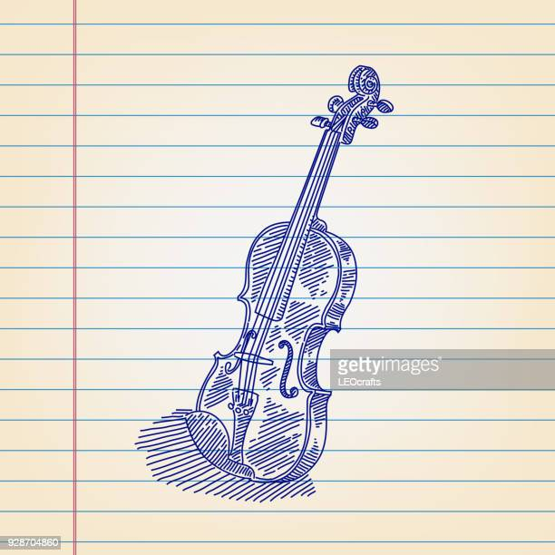 violin drawing on lined paper - violin stock illustrations, clip art, cartoons, & icons