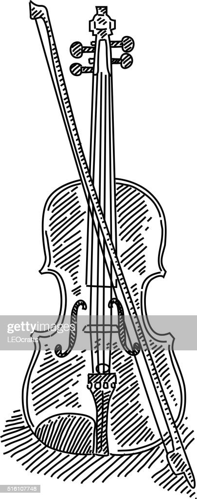 Line Drawing Violin : Violin drawing vector art getty images