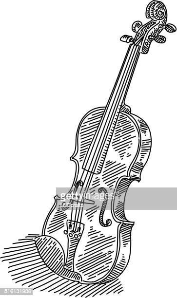 violin drawing - violin stock illustrations, clip art, cartoons, & icons