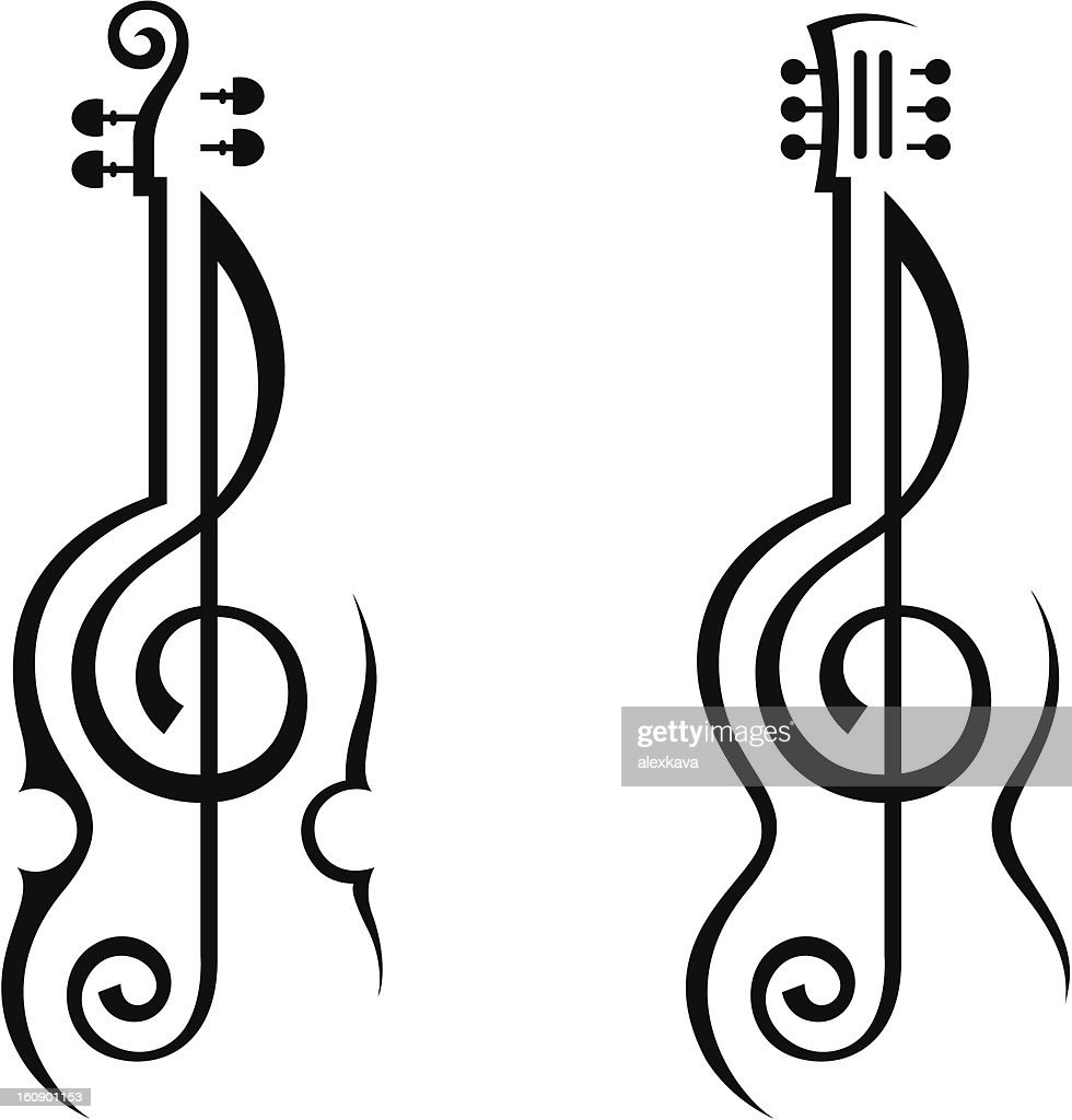 violin, guitar and treble clef