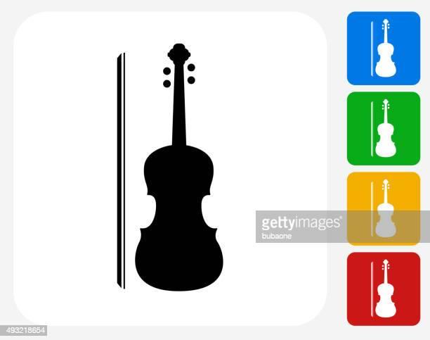violin icon flat graphic design - violin stock illustrations, clip art, cartoons, & icons